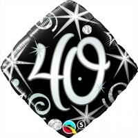 Säkenöivä musta-hopea 40 perusfoliopallo