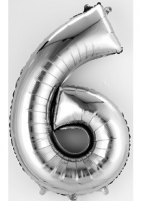 Numero 6, puhallettava hopeinen foliopallo