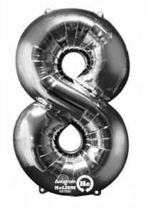Numero 8, puhallettava hopeinen foliopallo