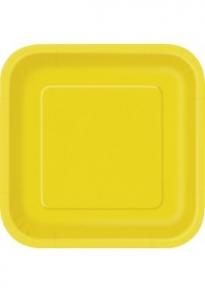 Isot neliö pahvilautaset 16kpl/pkt, keltainen