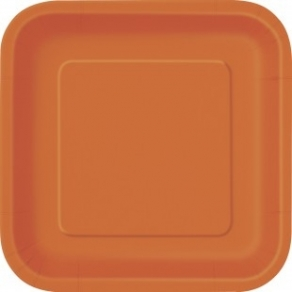 Pienet neliö pahvilautaset 16kpl/pkt, oranssi