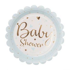 Baby Shower pahvilautaset 8kpl/pkt, vaaleansininen