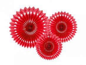 Fan paperikoristeet 3kpl/pkt 20-30cm punainen