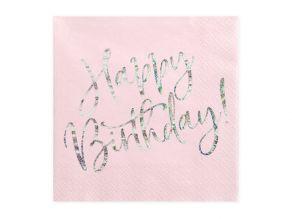 lautasliina happy birthday vaaleanpunainen