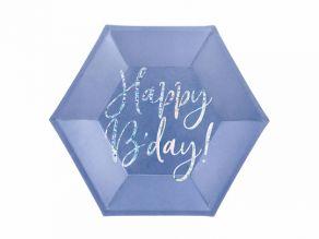 Happy B'day pahvilautaset 6kpl/pkt, sininen