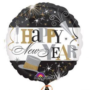 Happy New Year perusfoliopallo musta-valko-kulta-hopea