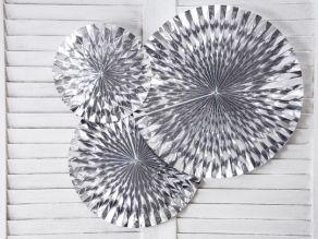 Fan paperiviuhkat 3kpl, kiiltävä hopea