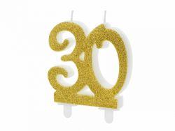 Kakkukynttilä 30 kultaglitter