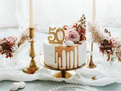 Kakkukynttilä 50 kultaglitter
