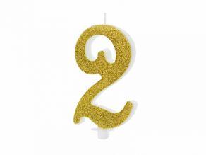 Kultaiset numerokakkukynttilät  10cm