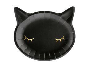 Mustat kissa pahvilautaset 6kpl/pkt