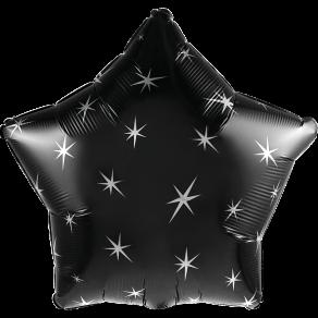 Musta tähti foliopallo hopeakoristuksella