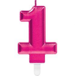 Kakkukynttilä Numero 1 pinkki A