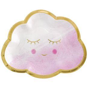 Oh Baby pilvi pahvilautaset vaaleanpunainen 8kpl/pkt