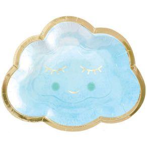 Oh Baby pilvi pahvilautaset vaaleansininen 8kpl/pkt