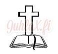 Painolaatta risti ja raamattu omalla tekstillä