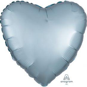Sydän foliopallo, satin luxe pastel blue