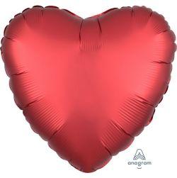 Sydän foliopallo, satin luxe sangria