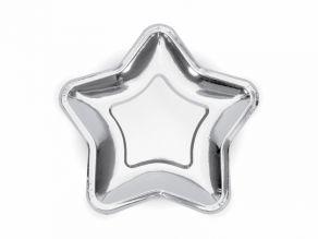 Tähti muotolautanen hopea 23cm 6kpl/pkt