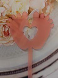 Kakkukoristetikku varpaat sydämellä vaaleanpunainen